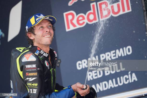 Valentino Rossi of Italy and Monster Energy Yamaha MotoGP Team celebrates the third place on the podium during the MotoGP race during the MotoGP of...