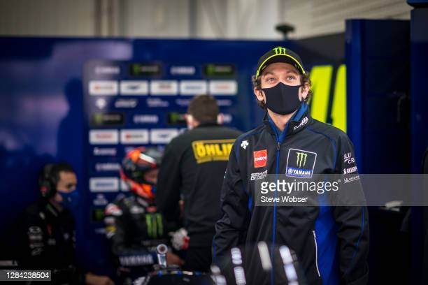 Valentino Rossi of Italy and Monster Energy Yamaha MotoGP visits his garage at the end of FP2 after his quarantine during the free practice for the...