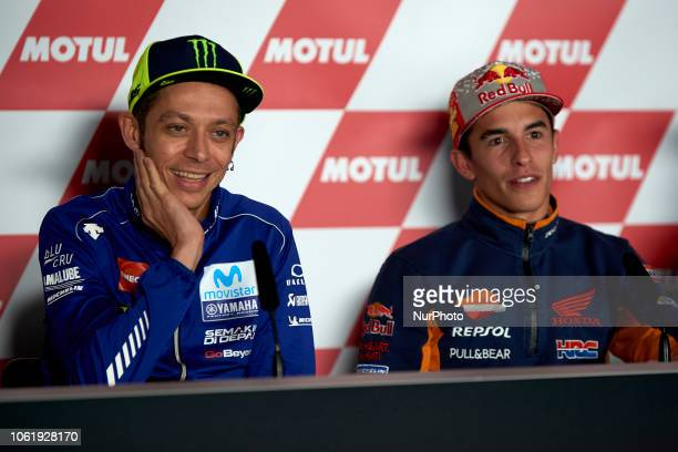 Valentino Rossi of Italy and Movistar Yamaha MotoGP and Marc Marquez of Spain and Repsol Honda Team during the press conference before of the Gran...