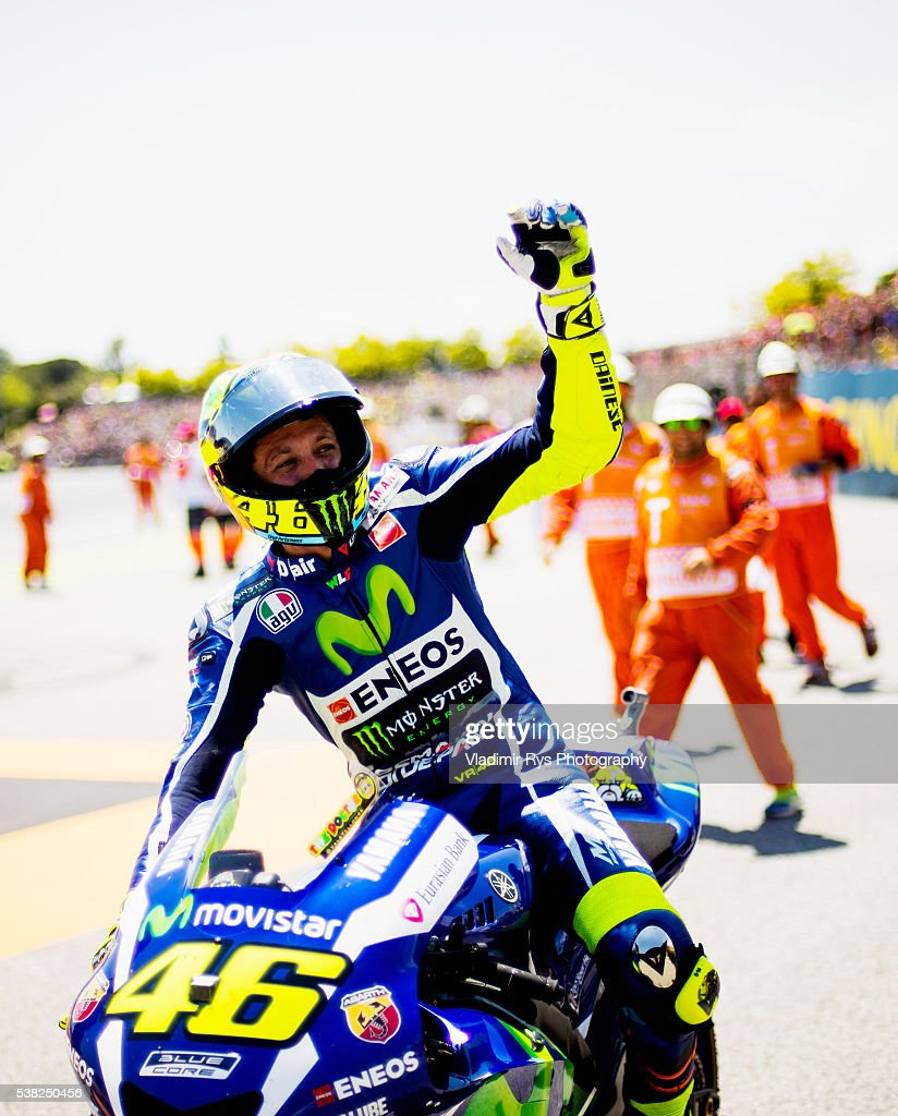 Valentino Rossi of Italy and Movistar Yamaha MotoGP celebrates after winning the MotoGP of Catalunya at Circuit de Barcelona on June 05, 2016 in Montmelo, Spain.