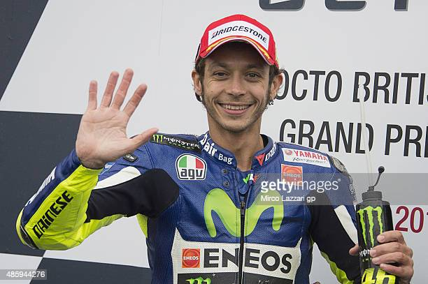 Valentino Rossi of Italy and Movistar Yamaha MotoGP celebrates his victory at the end of the MotoGP race during the MotoGp Of Great Britain Race at...