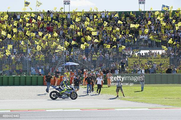 Valentino Rossi of Italy and Movistar Yamaha MotoGP celebrates the victory at the end of the MotoGP race during the MotoGP of San Marino Race at...