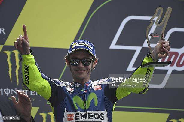 Valentino Rossi of Italy and Movistar Yamaha MotoGP celebrates the second place on the podium at the end of the MotoGP race during the MotoGp of...