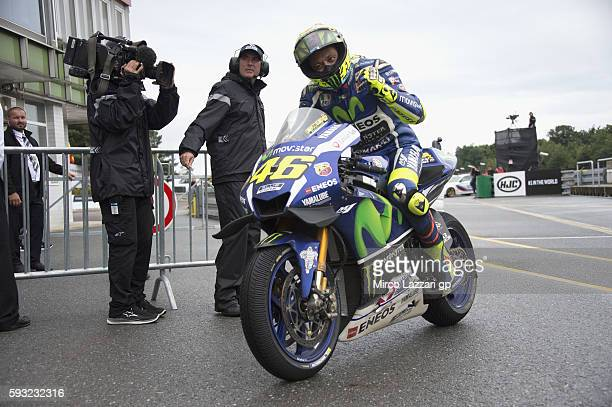 Valentino Rossi of Italy and Movistar Yamaha MotoGP celebrates the second place at the end of the MotoGP race during the MotoGp of Czech Republic...