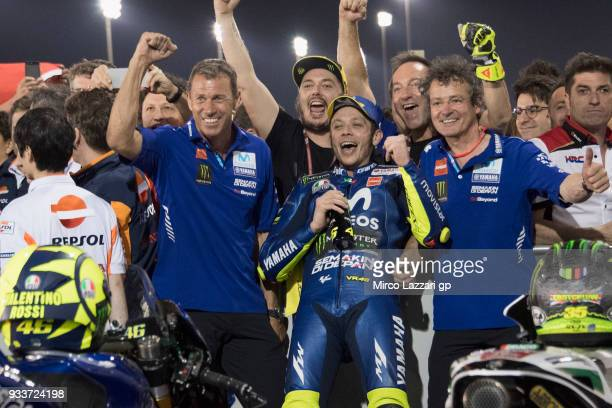 Valentino Rossi of Italy and Movistar Yamaha MotoGP celebrates the third place with team at the end of the MotoGP race during the MotoGP of Qatar...