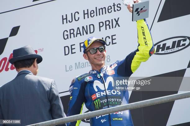 Valentino Rossi of Italy and Movistar Yamaha MotoGP celebrates the third place on the podium at the end of the MotoGP race during the MotoGp of...