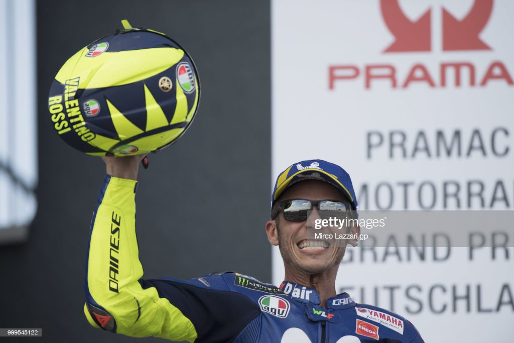 Valentino Rossi of Italy and Movistar Yamaha MotoGP celebrates the second place on the podium at the end of the MotoGP race during the MotoGp of Germany - Race at Sachsenring Circuit on July 15, 2018 in Hohenstein-Ernstthal, Germany.