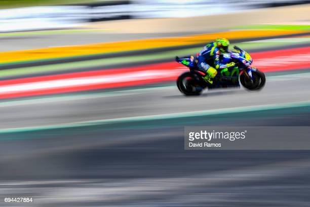 Valentino Rossi of Italy and Movistar Yamaha MotoGP during a free practice ahead of qualifying at Circuit de Catalunya on June 10, 2017 in Montmelo,...