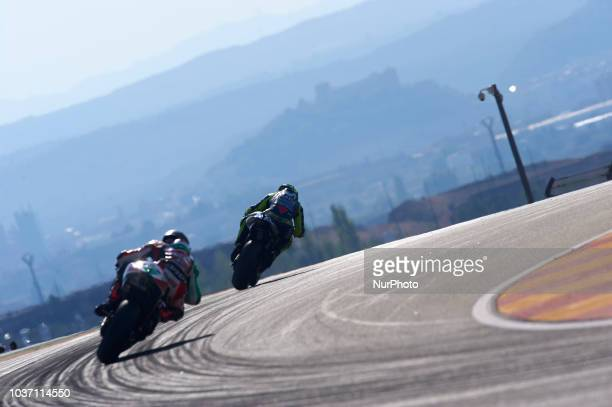 Valentino Rossi of Italy and Movistar Yamaha MotoGP during free practice for the Gran Premio Movistar de Aragon of world championship of MotoGP at...