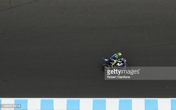 Valentino Rossi of Italy and Movistar Yamaha MotoGP during qualifying for the 2018 MotoGP of Australia at Phillip Island Grand Prix Circuit on...