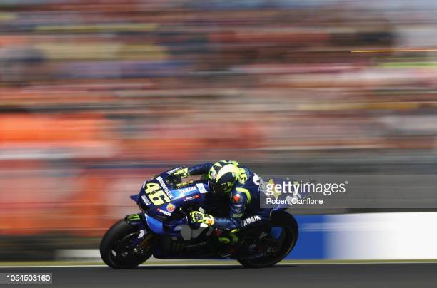 Valentino Rossi of Italy and Movistar Yamaha MotoGP during the 2018 MotoGP of Australia at Phillip Island Grand Prix Circuit on October 28 2018 in...