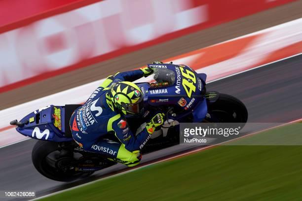 Valentino Rossi of Italy and Movistar Yamaha MotoGP during the free practice during the Gran Premio Motul de la Comunitat Valenciana of world...