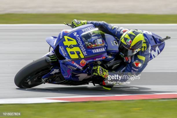 Valentino Rossi of Italy and Movistar Yamaha MotoGP during the MotoGp of Austria - Qualifying at Red Bull Ring on August 11, 2018 in Spielberg,...