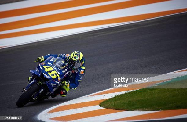 Valentino Rossi of Italy and Movistar Yamaha MotoGP during the qualifying of the Gran Premio Motul de la Comunitat Valenciana of world championship...