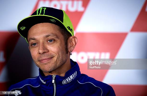 Valentino Rossi of Italy and Movistar Yamaha MotoGP during the press conference before of the Gran Premio Motul de la Comunitat Valenciana of world...