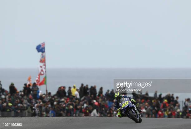 Valentino Rossi of Italy and Movistar Yamaha MotoGP during the warm up session for the 2018 MotoGP of Australia at Phillip Island Grand Prix Circuit...