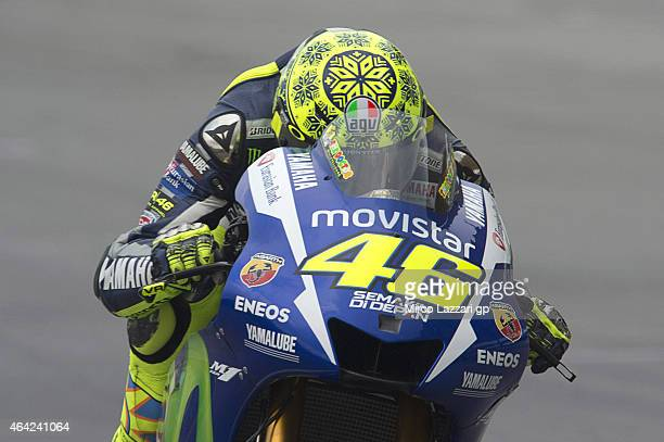 Valentino Rossi of Italy and Movistar Yamaha MotoGP heads down a straight during the MotoGP Tests in Sepang Day One at Sepang Circuit on February 23...