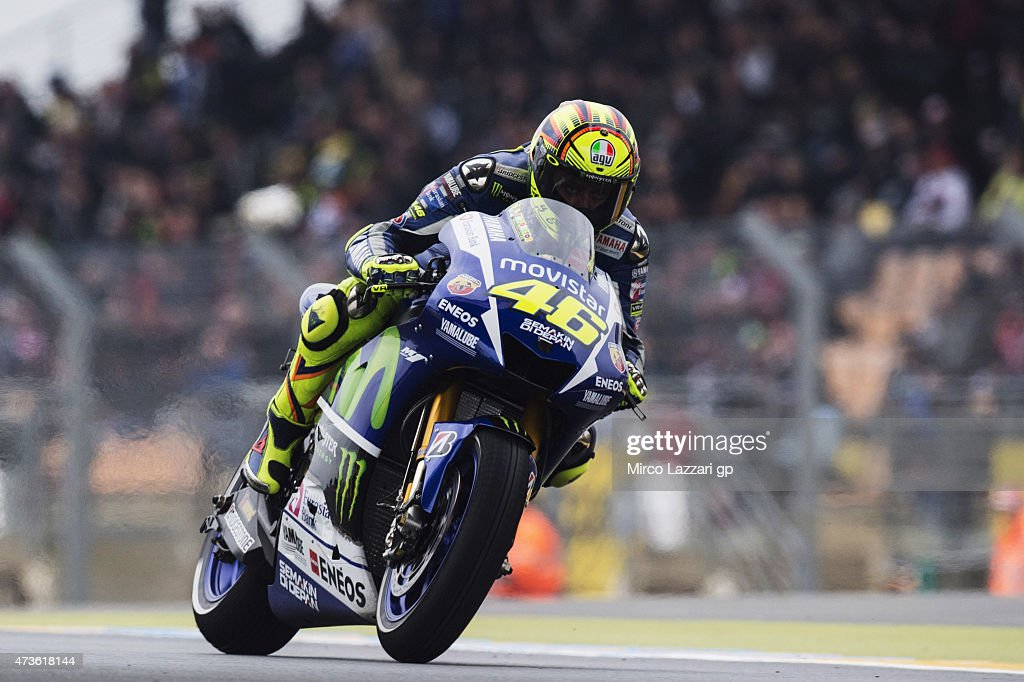 Valentino Rossi of Italy and Movistar Yamaha MotoGP heads down a straight during the qualifying practice during the MotoGp of France - Qualifying at on May 16, 2015 in Le Mans, France.