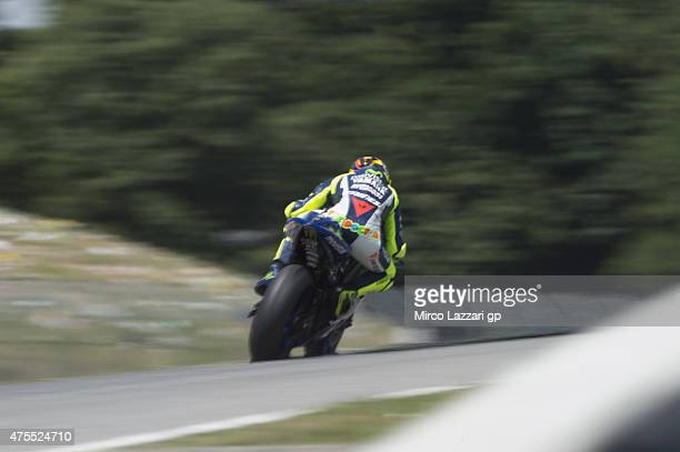 Valentino Rossi of Italy and Movistar Yamaha MotoGP heads down a straight during the Michelin tires test during the MotoGp Tests At Mugello at...