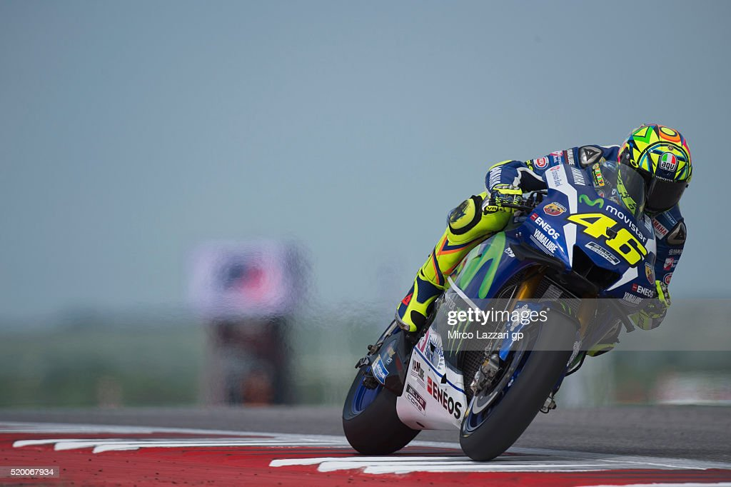 Valentino Rossi of Italy and Movistar Yamaha MotoGP heads down a straight during the MotoGp Red Bull U.S. Grand Prix of The Americas - Qualifying at Circuit of The Americas on April 9, 2016 in Austin, Texas.