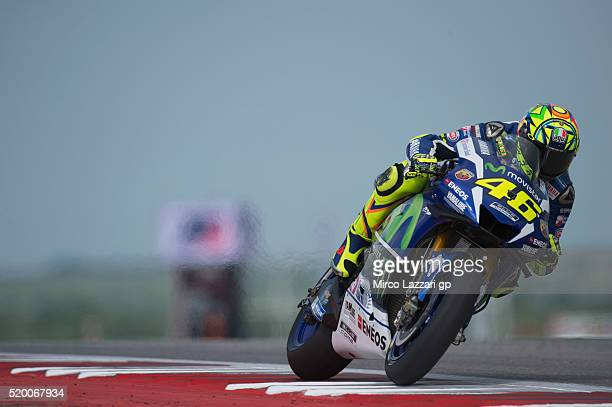 Valentino Rossi of Italy and Movistar Yamaha MotoGP heads down a straight during the MotoGp Red Bull US Grand Prix of The Americas Qualifying at...