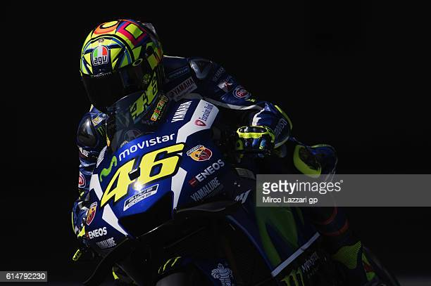 Valentino Rossi of Italy and Movistar Yamaha MotoGP heads down a straight during the practice during the MotoGP of Japan Qualifying at Twin Ring...