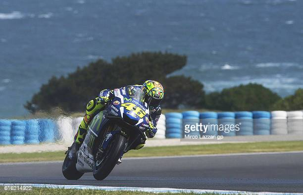 Valentino Rossi of Italy and Movistar Yamaha MotoGP heads down a straight during the qualifying practice during qualifying for the 2016 MotoGP of...