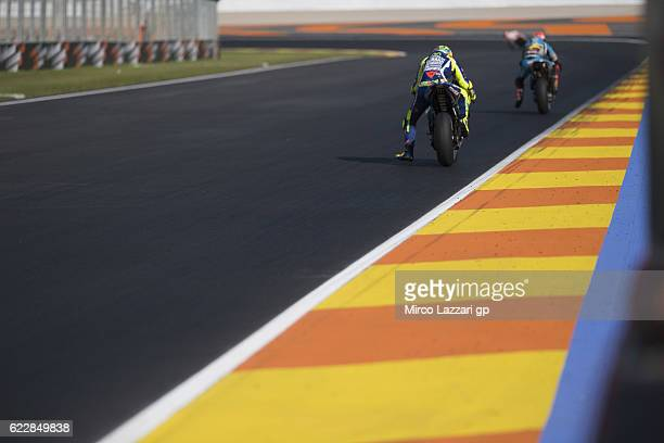 Valentino Rossi of Italy and Movistar Yamaha MotoGP heads down a straight during the MotoGP of Valencia Qualifying at Ricardo Tormo Circuit on...