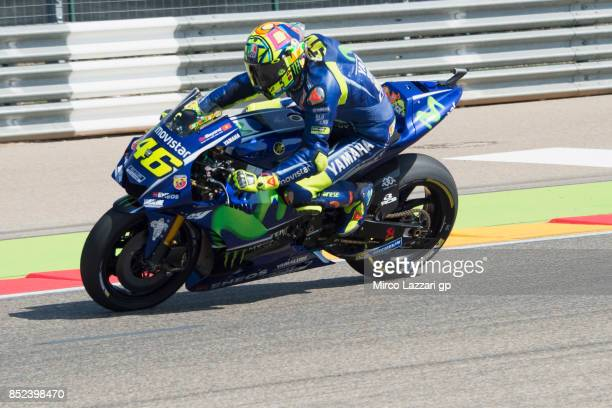Valentino Rossi of Italy and Movistar Yamaha MotoGP heads down a straight during the qualifying practice during the MotoGP of Aragon Qualifying at...