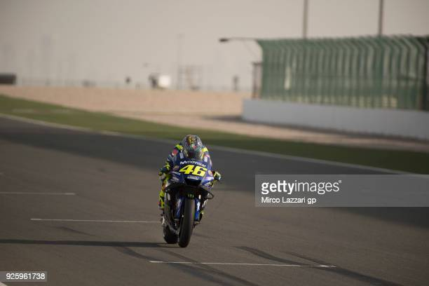 Valentino Rossi of Italy and Movistar Yamaha MotoGP heads down a straight during the MotoGP Testing Qatar at Losail Circuit on March 1 2018 in Doha...