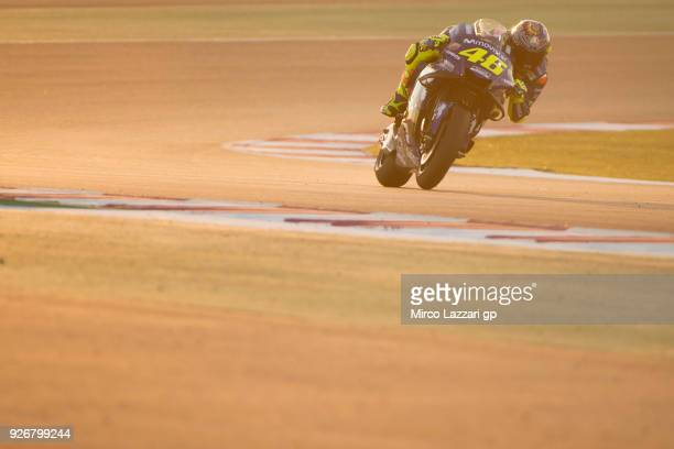 Valentino Rossi of Italy and Movistar Yamaha MotoGP heads down a straight during the Moto GP Testing Qatar at Losail Circuit on March 3 2018 in Doha...