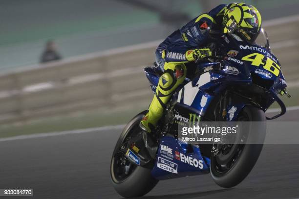 Valentino Rossi of Italy and Movistar Yamaha MotoGP heads down a straight during the MotoGP of Qatar Qualifying at Losail Circuit on March 17 2018 in...