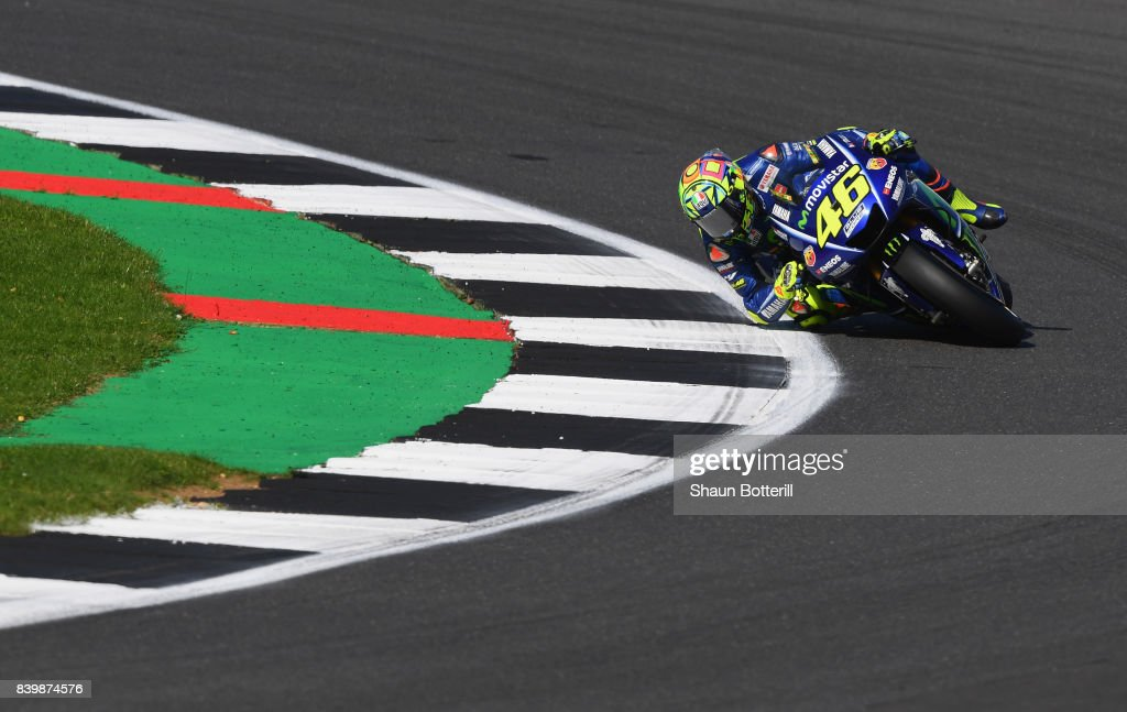 Valentino Rossi of Italy and Movistar Yamaha MotoGP in action during the MotoGP of Great Britain at Silverstone Circuit on August 27, 2017 in Northampton, England.