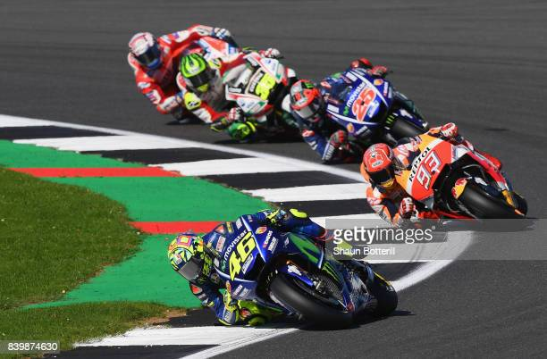 Valentino Rossi of Italy and Movistar Yamaha MotoGP in action during the MotoGP of Great Britain at Silverstone Circuit on August 27 2017 in...