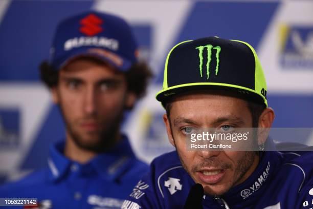 Valentino Rossi of Italy and Movistar Yamaha MotoGP is seen during a press conference ahead of the 2018 MotoGP of Australia at Phillip Island Grand...