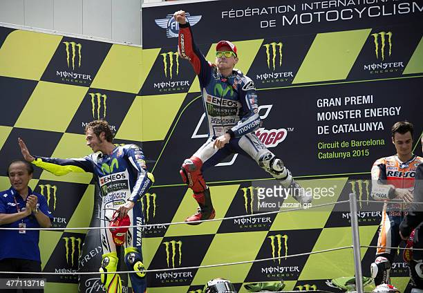 Valentino Rossi of Italy and Movistar Yamaha MotoGP Jorge Lorenzo of Spain and Repsol Honda Team and Dani Pedrosa of Spain and Repsol Honda Team...