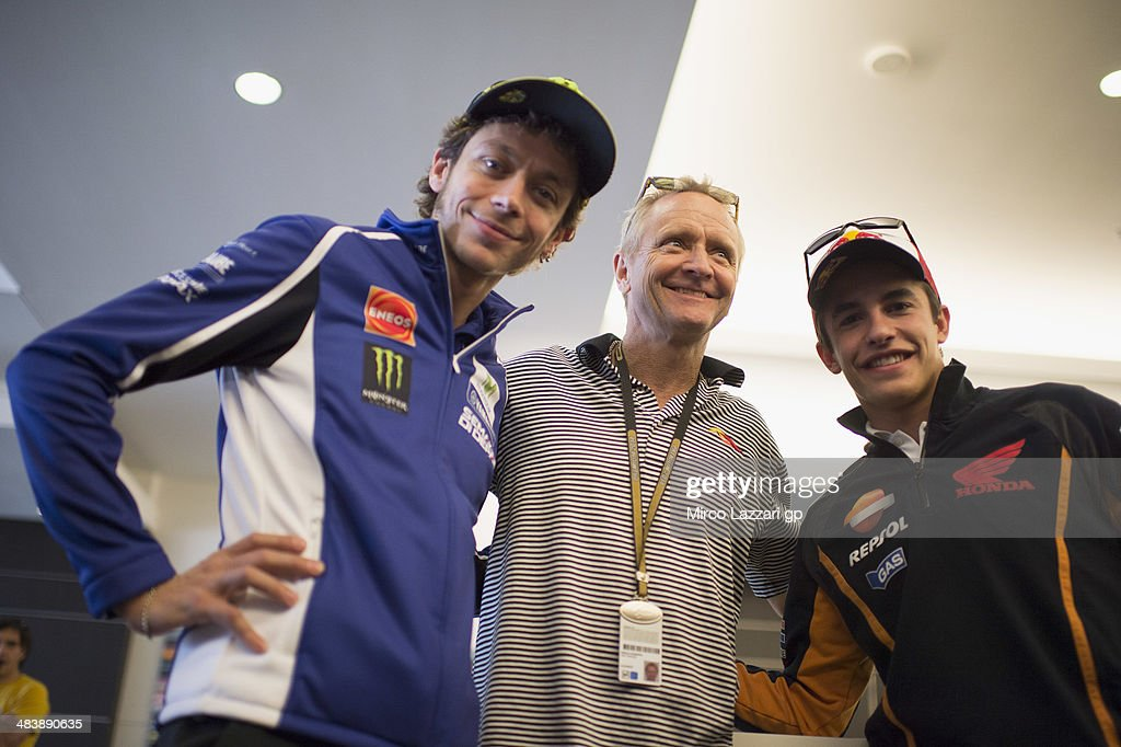 Valentino Rossi of Italy and Movistar Yamaha MotoGP, Kevin Schwantz of the U.S. and Marc Marquez of Spain and Repsol Honda Teamwantz of the U.S. and pose before the press conference pre-event during the MotoGp Red Bull U.S. Grand Prix of The Americas - Previews at Circuit of The Americas on April 10, 2014 in Austin, Texas.