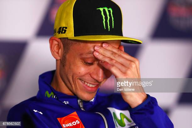 Valentino Rossi of Italy and Movistar Yamaha MotoGP laughs at a press conference during previews to the MotoGP of Spain at Circuito de Jerez on May 4...