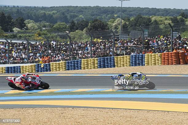 Valentino Rossi of Italy and Movistar Yamaha MotoGP leads during the MotoGP race during the MotoGp of France Race at on May 17 2015 in Le Mans France