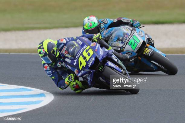 Valentino Rossi of Italy and Movistar Yamaha MotoGP leads Franco Morbidelli of Italy and EG 00 Marc VDS during free practice for the 2018 MotoGP of...