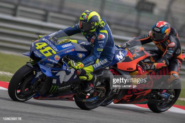 Valentino Rossi of Italy and Movistar Yamaha MotoGP leads the field during the MotoGP Of Malaysia Free Practice at Sepang Circuit on November 2 2018...