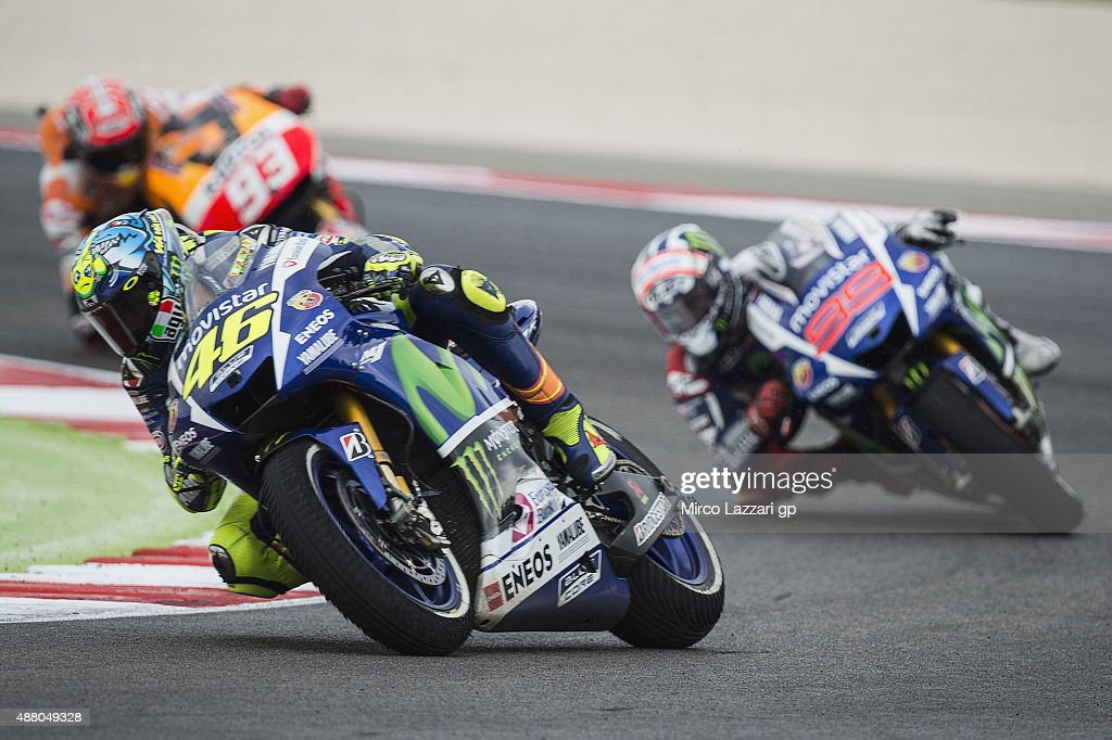 Valentino Rossi of Italy and Movistar Yamaha MotoGP leads the field in the MotoGP World Championship race during the San Marino GP at Misano World Circuit on September 13, 2015 in Misano Adriatico, Italy.