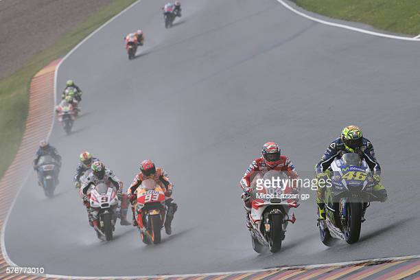 Valentino Rossi of Italy and Movistar Yamaha MotoGP leads the field during the MotoGP race during the MotoGp of Germany Race at Sachsenring Circuit...