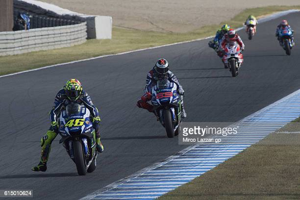 Valentino Rossi of Italy and Movistar Yamaha MotoGP leads the field during the MotoGP race during the MotoGP of Japan Race at Twin Ring Motegi on...