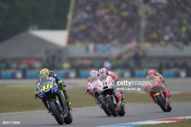 Valentino Rossi of Italy and Movistar Yamaha MotoGP leads the field during the MotoGP Race during the MotoGP Netherlands Race on June 25 2017 in...