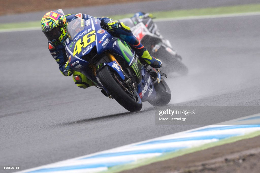 Valentino Rossi of Italy and Movistar Yamaha MotoGP leads the field during the MotoGP of Japan - Free Practice at Twin Ring Motegi on October 13, 2017 in Motegi, Japan.