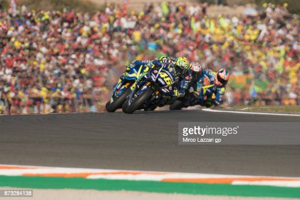 Valentino Rossi of Italy and Movistar Yamaha MotoGP leads the field during the MotoGP race during the Comunitat Valenciana Grand Prix Moto GP at...