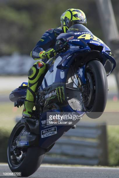 Valentino Rossi of Italy and Movistar Yamaha MotoGP lifts the front wheel during free practice for the 2018 MotoGP of Australia at Phillip Island...
