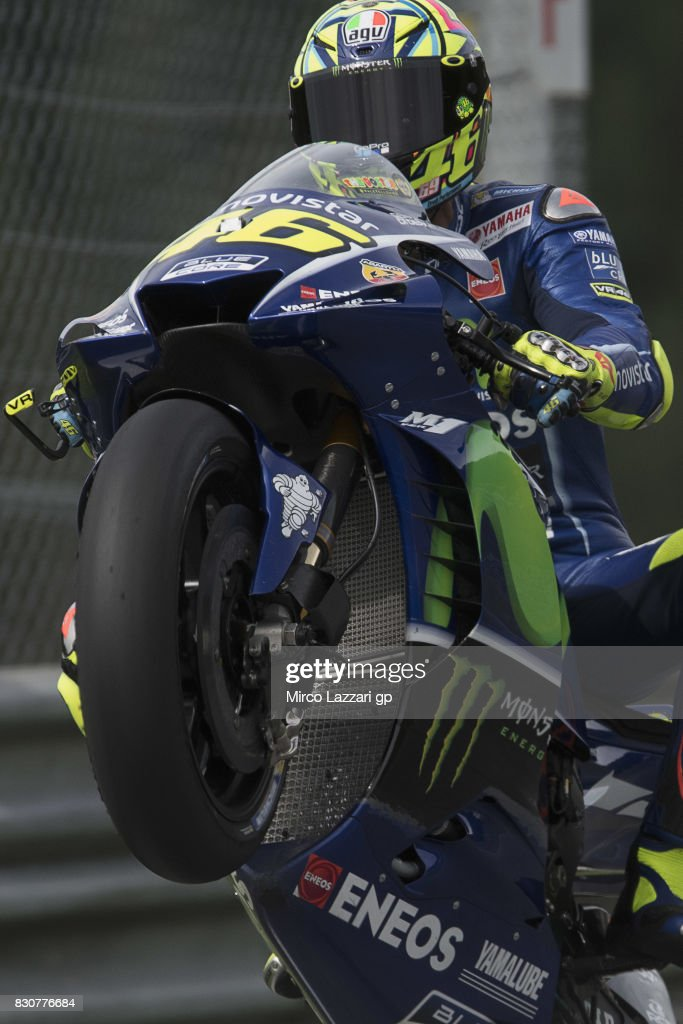 Valentino Rossi of Italy and Movistar Yamaha MotoGP lifts the front wheel during the MotoGp of Austria - Qualifying at Red Bull Ring on August 12, 2017 in Spielberg, Austria.