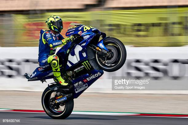 Valentino Rossi of Italy and Movistar Yamaha MotoGP lifts the front wheel during free practice for the MotoGP of Catalunya at Circuit de Catalunya on...